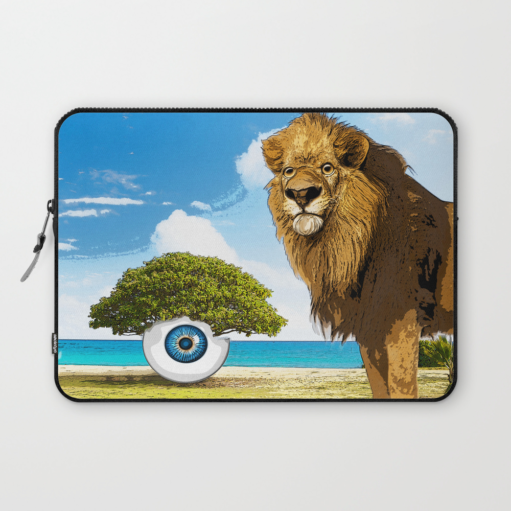 Surreal Sea Scape With Lion And Tree Eye Laptop Sleeve LSV8278496