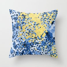Nell - abstract gold indigo blue painting free spirit hipster boho college dorm modern minimalism  Throw Pillow