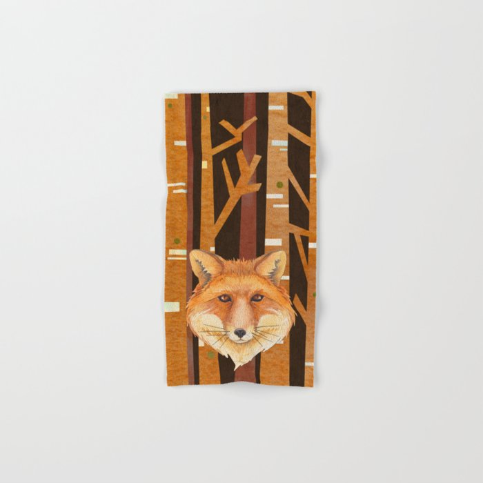 Fox Wild animal in the forest- abstract artwork #Society6 Hand & Bath Towel