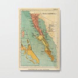 Vintage Map of Baja California (1899) Metal Print