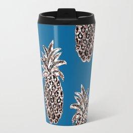 Gold Pineapples on teal Travel Mug