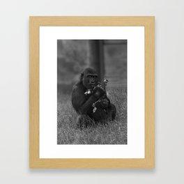 Cheeky Gorilla Lope Mono Framed Art Print