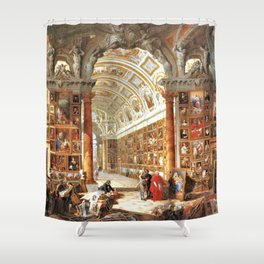 Giovanni Paolo Pannini Masterpiece Interior of a Picture Gallery with the Collection of theCardinal Shower Curtain