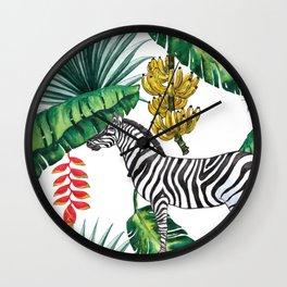 watercolor banana leaves with zebra Wall Clock