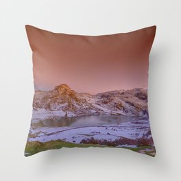 Panoramic view of Lake Ercina with snow in Asturias, Spain. Throw Pillow