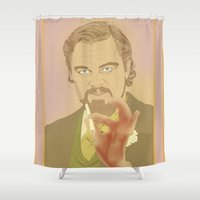 calvin Shower Curtains featuring CALVIN CANDIE by Itxaso Beistegui Illustrations