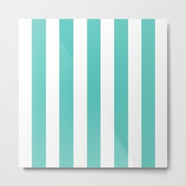 Bayside - solid color - white vertical lines pattern Metal Print