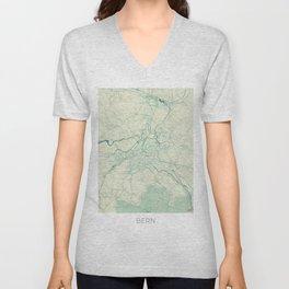 Bern Map Blue Vintage Unisex V-Neck