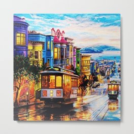 Russian Hill, San Francisco with view of Bay Metal Print