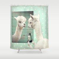 selfie Shower Curtains featuring SELFIE by Monika Strigel