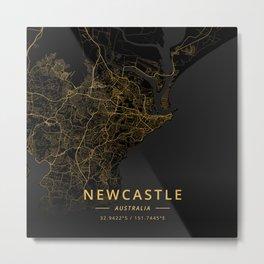 Newcastle, Australia - Gold Metal Print