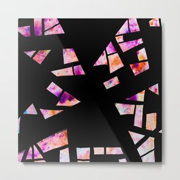 Vibrant Abstract Geometric Shapes - Watercolour and Ink Art Metal Print