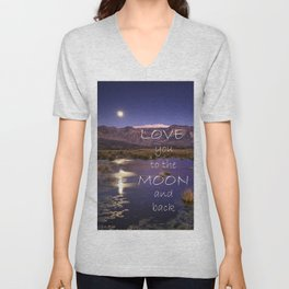 Love you to the moon and back.  Valentine's Day Unisex V-Neck