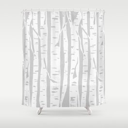 Woodcut Birches Grey Shower Curtain