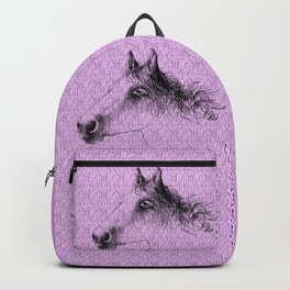 Horse, animal head portrait, hand drawn black and white drawing Backpack