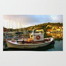Greece Fishing Boat Sunrise High Color Rug