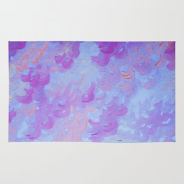 PURPLE PLUMES - Soft Pastel Wispy Lavender Clouds Lilac Plum Periwinkle Abstract Acrylic Painting  Rug