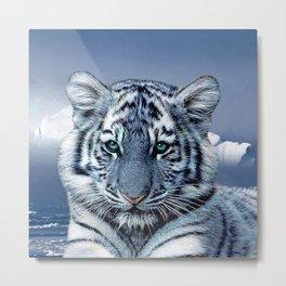 Blue White Tiger Metal Print