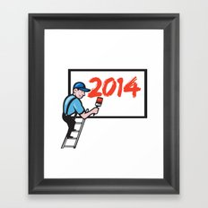 New Year 2014 Painter Painting Billboard Framed Art Print
