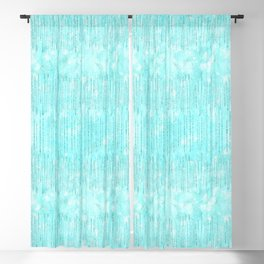 Abstract modern teal white watercolor brushstrokes pattern Blackout Curtain