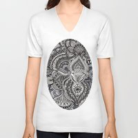 zentangle V-neck T-shirts featuring zentangle by paucarbajal