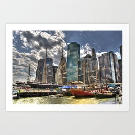 NYC Harbor, south seaport Art Print