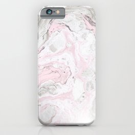 Peaceful Pink Gold & Gray Marble Print iPhone Case