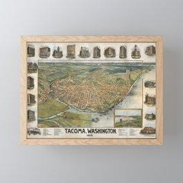Vintage Map of Tacoma WA (1893) Framed Mini Art Print
