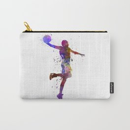 basketball player one hand slam dunk silhouette Carry-All Pouch