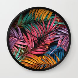 Colorful Palm Leaves Wall Clock