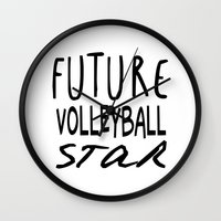 volleyball Wall Clocks featuring Future Volleyball Star by raineon