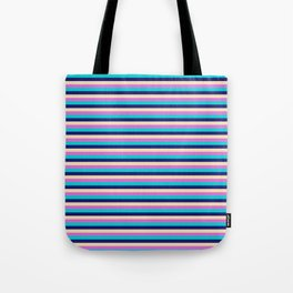 Vibrant Tan, Orchid, Dark Turquoise, and Midnight Blue Lines Pattern Tote Bag