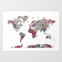 map of the world Art Prints featuring World Map  by MapMapMaps.Watercolors