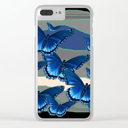 INDIGO BLUE BUTTERFLIES ON THE STORMY HORIZON Clear iPhone Case