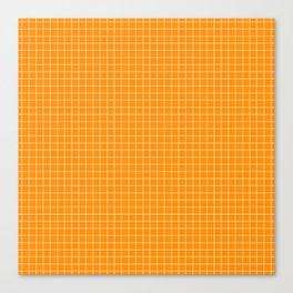 Orange Grid White Line Canvas Print