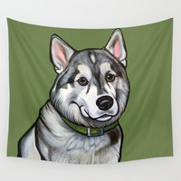 husky Wall Tapestries featuring Aspen the Husky by Pawblo Picasso