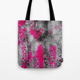 vintage psychedelic painting texture abstract in pink and black with noise and grain Tote Bag