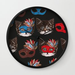 Mask and cute lovely cat pattern black background Wall Clock