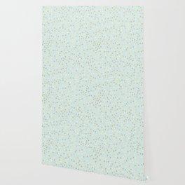 Baby Blue & Gold Polka Dots Wallpaper