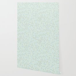 Baby Blue & Gold Polka Dots Wallpaper