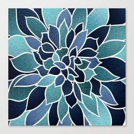 Festive, Flower Bloom, Navy Blue and Teal Canvas Print