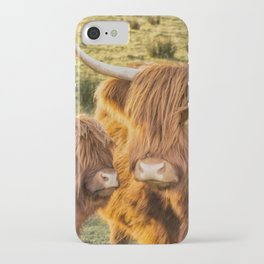 Mother and child. Highland Cows of Scotland....(heilan coo's) iPhone Case