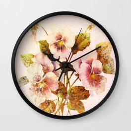 pink pansies Wall Clock