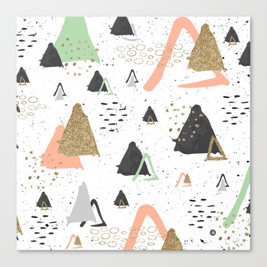 Triangles & textures watercolor Canvas Print