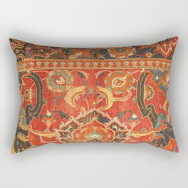 Red Arabic Rug I // 17th Century Colorful Firey Red Light Teal Sapphire Navy Blue Ornate Pattern Rectangular Pillow