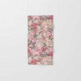 Romantic Flower Pattern And Birdcage Hand & Bath Towel