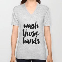 Wash those hands Toilet sign Bathroom rules INSTANT DOWNLOAD Kids wall art Loo sign Washroom sign Ba Unisex V-Neck