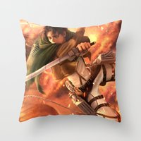 levi Throw Pillows featuring Captain Levi by Nikittysan
