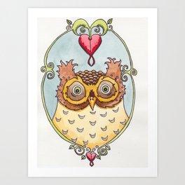 Bleeding Heart Owl Art Print