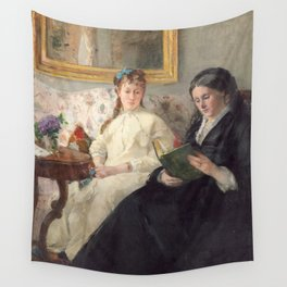 The Mother and Sister of the Artist - Marie-Joséphine & Edma by Berthe Morisot Wall Tapestry